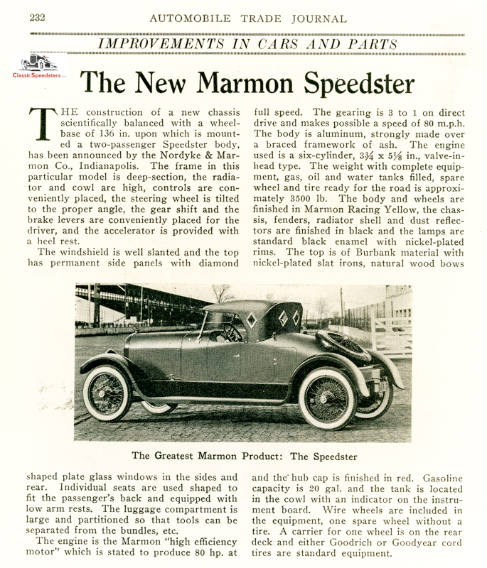 1920 Marmon Model 34 Speedster courtesy AACA library