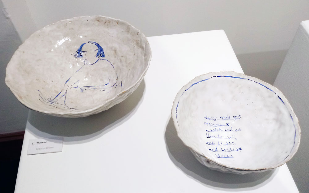 Rebbecca Brown . Two stoneware bowls from her series of work that addresses 'old wives tales' and 'superstitions' concerning witchcraft. Brown travelled to the coastal villages of Norway to research folkloric tales there also. (Photo: Ian McKay)