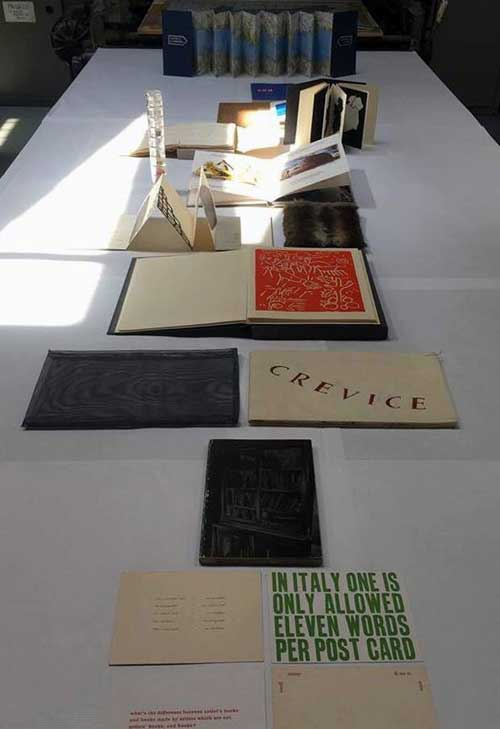 The Artists' Book Historicized  – a small selection from  Déirdre Kelly's collection , which she regularly presents to groups as a means to highlight the medium's importance. Most recently she has shown her collection at the University of Bologna, and Scuola Internazionale di Grafica, Venice, which has also hosted presentations of artists' book for students of Indiana University and other graphic arts institutions. (Image: © Dérdre Kelly, 2018).