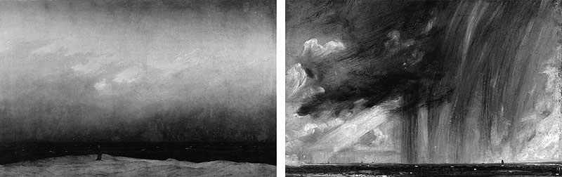 Caspar David Friedrich ,  The Monk by the Sea  (1808-1810) and right,  John Constable ,  Seascape Study with Rain Cloud  (1827).