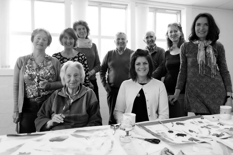 Christine McCallum , NHS Dementia Link Worker for Wester Ross (seated, right) and  Anne-Marie Quinn , Project Coordinator (far right). (Photo: courtesy An Talla Solais/Ullapool Visual Arts)