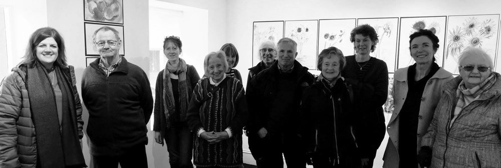 Christine McCallum  (far left), artist  Lorna Campbell  (fifth from left) and  Anne-Marie Quinn , Project Coordinator (second from right). (Photo: courtesy An Talla Solais/Ullapool Visual Arts)