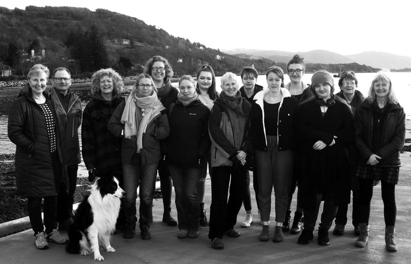 Bridge House Art 2018-19:  Sheila Garden, Bob Kinnaird, Ciostal the dog, Rupachitta Robertson, Sally Weatherston, Kittie Jones (tutor), Luisa Stucchi, Aby Urquhart, Jenny Nicholls, Mairi Driver, Megan Vischer, Hebe Denny, Chloe Calder, Michaele Wynn-Jones, Eleanor White (tutor).