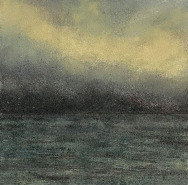 Jane Rushton ,  snowstorm over sleat , 30 x 30 cm