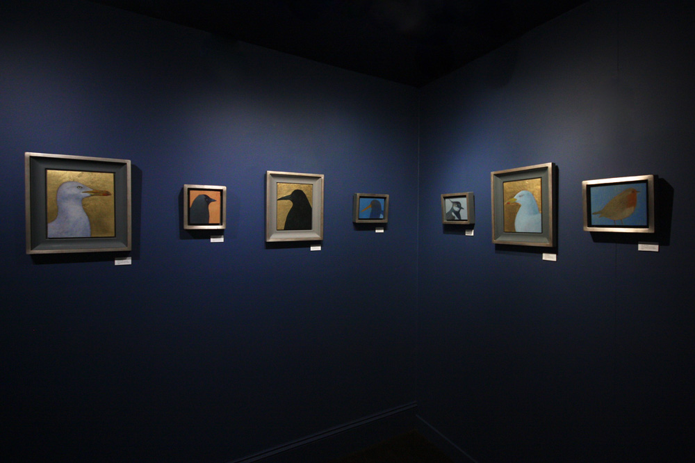 Jane MacNeill , Installation view of works at The Room, An Talla Solais Gallery, Ullapool. (L-R:  Herring Gull ,  Jackdaw, Rook II ,  Oystercatcher ,  Lapwing ,  Herring Gull II , and  Robin ). (Photo: Ian McKay)