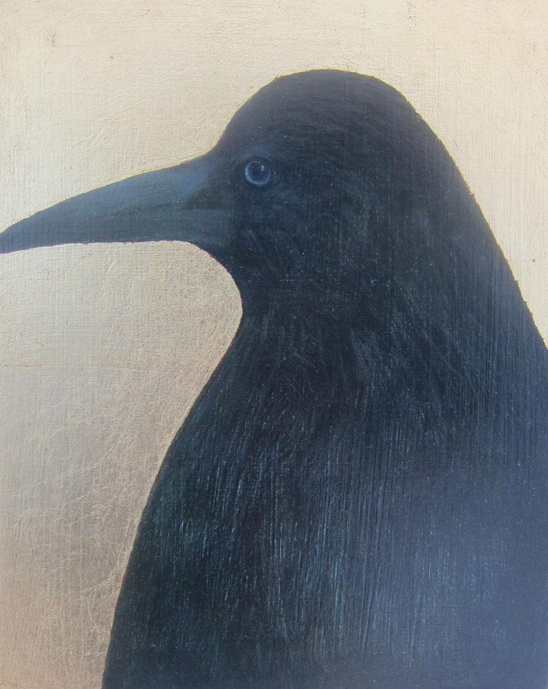 Jane MacNeill ,  Rook II , (Oil on Board, image courtesy the artist/An Talla Solais Gallery).