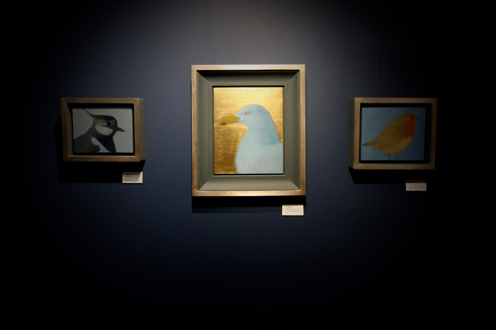 Jane MacNeill , Installation view of works at The Room, Antalla Solais Gallery, Ullapool. (L-R  Lapwing ,  Herring Gull II , and  Robin ). (Photo: Ian McKay)