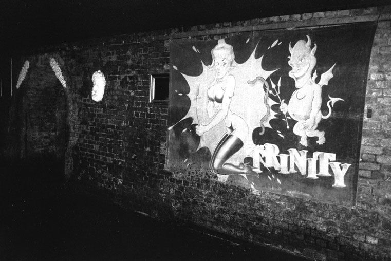 Empty Nightclub : The Chunnel Club with flour drape and mirrors, situated in the deregulated spaces of Victorian arches, Vauxhall, 2000. (From  Locating the Wild Zone  by Ian McKay, 2001). (Photo: © Ian McKay)