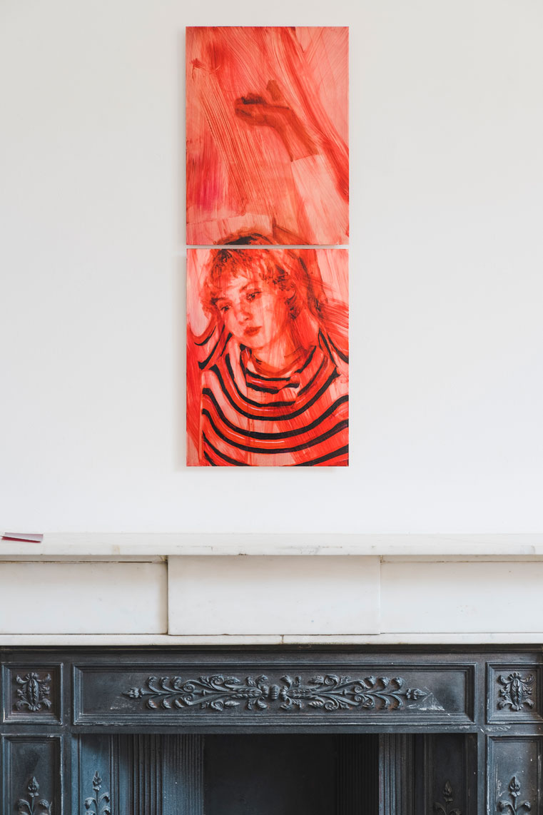 Casper White , And You Danced, Arusha Gallery, (Installation View showing  I Conduct Myself Invisibly , 2019, Oil On Copper, 80 x 30 cm). (Photo: © John Sinclair, courtesy Arusha Gallery)