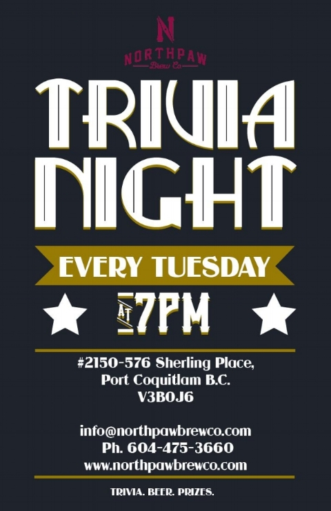 Tease your brain and tickle your taste buds with a glass, flight, or pint at Northpaw Trivia nights every Tuesday!