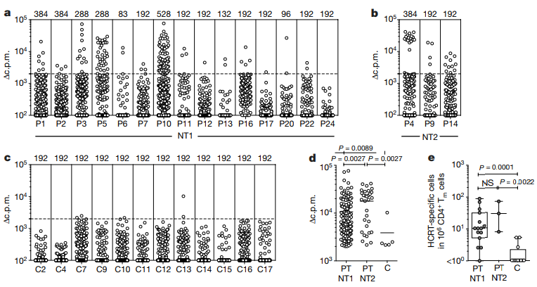 Hcrt-specific autoreactive T cells detected using the T cell library method. Each dot represents a single T cell, with proliferation measured in response to peptide stimulation reported in counts per minute (c.p.m) after incubation with [3H]-thymidine to label proliferating cells. 'Positive' T cell responses were considered > 2,000 c.p.m as the background (unstimulated) proliferation rate was ~1,500 c.p.m. Note the strong proliferative response of T cells to hcrt peptide fragments in narcoleptics (P#) versus controls (C#). (NT1 = narcolepsy type 1, NT2 = narcolepsy type 2) (Latorre et al., 2018).