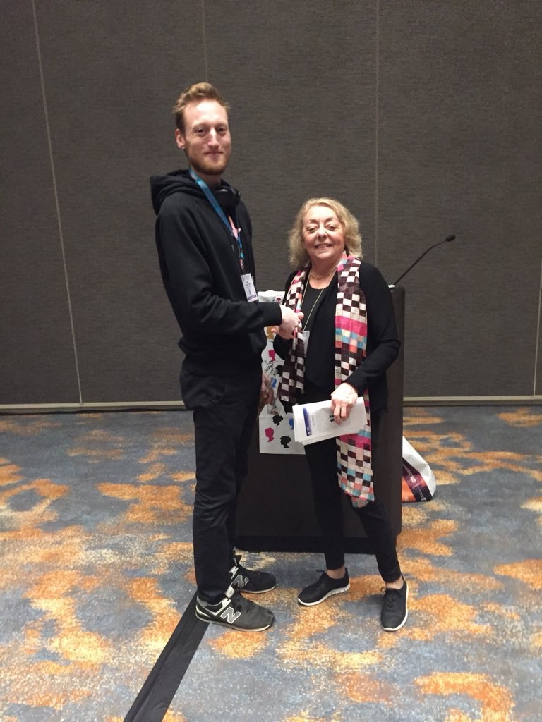Me (left) and SBN President Rae Silver, a legend in the field for her  work on circadian rhythms , awarding me the WC Young Recent Graduate Award at the SBN Social event in the Marriott Marquis next to the San Diego Convention Center.