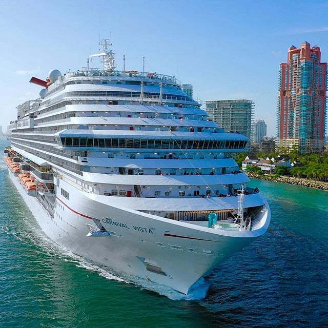Another amazing drone shot of the #CarnivalVista leaving #PortMiami!