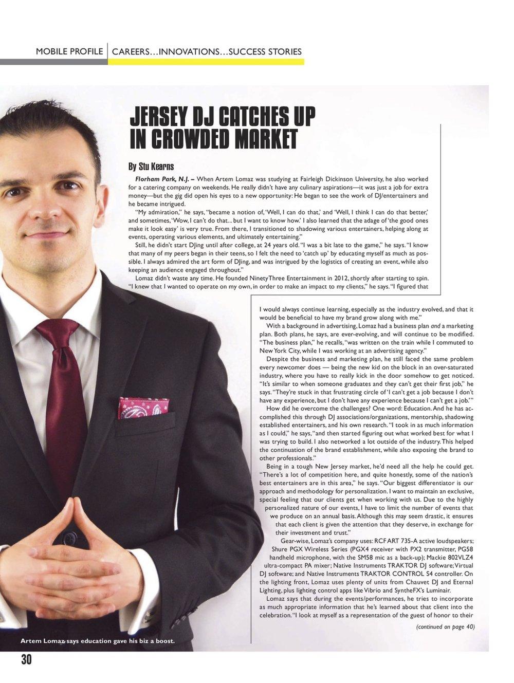 DJ Times Magazine Feature
