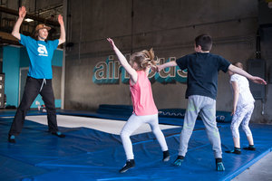 Air Time - A drop off program for kids aged 5-10y/o. Parents sign their kids up, sign them in and then can leave the building while your child jumps with one of our team. 8 spots per staff member, includes games, fun and jumping.