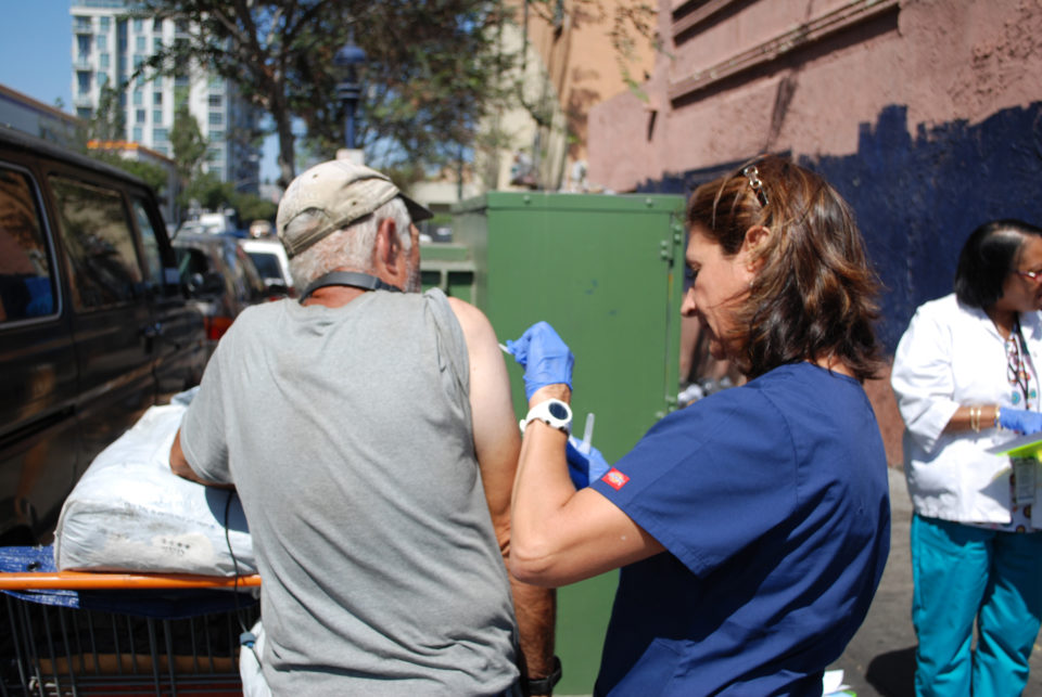 HHSA nurse and law enforcement teams went out in the streets to find and vaccinate consenting homeless and illicit drug users, two populations most at-risk for the Hepatitis A outbreak.