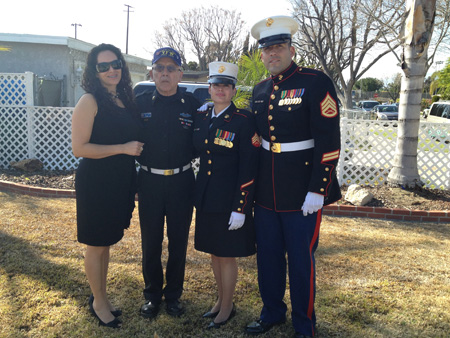 From left to right: Julia Pascual (sister), Albert Aguirre (uncle) US Army Paratrooper Korean War Veteran, Sargent Beatrice E. Maleno Gaeta (USMC) and (COSD HHSA) and Staff Sargent Jorge Maleno Huerta (brother) (USMC) and (County of San Diego Sheriff).