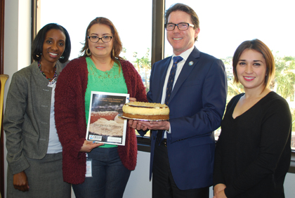 CECO Treasurer Detra Williams, Bake-Off winner Margarita Flores, Bake-Off judge Tom Montgomery and CECO Vice President Nadia Moshirian-Binderup.