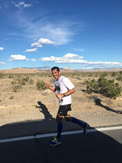 Probation Division Chief Alex Zermeno running his 4.2 mile leg of the 2017 Baker to Vegas Relay.