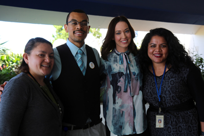 2016 Jay Hoxie Award nominees: Leticia Abrego, central region; Brent McCloud, north region; Brittany Alanis, east region; and Cesia Alvarado, central child welfare services. Monica Bonilla, south region, was not present.