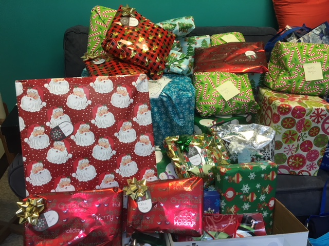 Some of the gifts collected at the North Coastal Family Resource Center from wish lists on their Giving Tree.