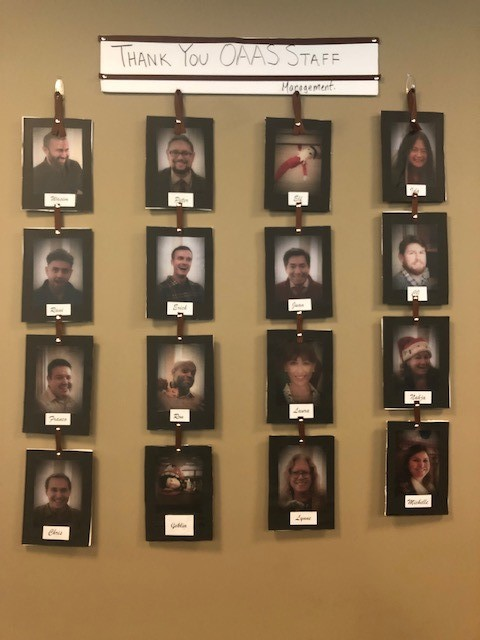 """The Office of Audits and Advisory Services had brunch and a """"Employee Wall of Fame."""""""