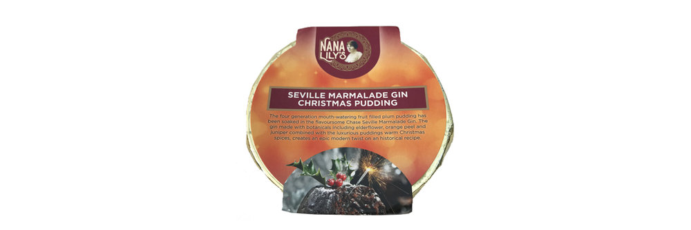 Seville Marmalade Gin Christmas Pudding (Irish Family Recipe Dating Back to 1800's)   Seville Marmalade Gin Christmas Pudding. The four generation mouth-watering fruit filled plum pudding has been soaked in flavoursome Chase Seville Marmalade Gin. The gin made with botanicals including elderflower, orange peel and juniper combined with the luxurious puddings warm Christmas spices, creates an epic modern twist on a historical recipe. 454gm.  Seville Marmalade Gin Christmas Pudding. 454gm The four generation mouth-watering fruit filled plum pudding has been soaked in flavoursome Chase Seville Marmalade Gin. The gin made with botanicals including elderflower, orange peel and juniper combined with the luxurious puddings warm Christmas spices, creates an epic modern twist on a historical recipe.