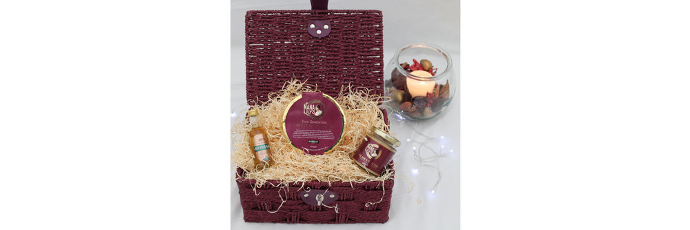 Christmas Pudding Hamper (Inspiring Idea)   This luxury Christmas pudding hamper makes a wonderful all-year round gift.  Including a Nana Lily's Four Generations Christmas Pudding (454g – serves 4-6), a jar of our delicious Nana Lily's Brandy Butter (100g) and a miniature bottle of Killbeggan Irish Whiskey.  This luxury Christmas pudding hamper makes a wonderful all-year round gift.  Including a Nana Lily's Four Generations Christmas Pudding (454g – serves 4-6), a jar of our delicious Nana Lily's Brandy Butter (100g) and a miniature bottle of Killbeggan Irish Whiskey.