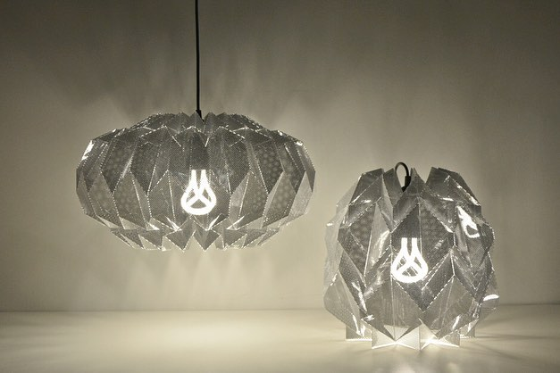 Good morning, new lamps. Folds, transparency, shadows and reflections.  #protopaperlab #folds #lightingdesign #lampshades #lampshademaker #shapes #beyondpaperseries #nightanddayshadeone #nightanddayshadetwo #plumen #handfolded