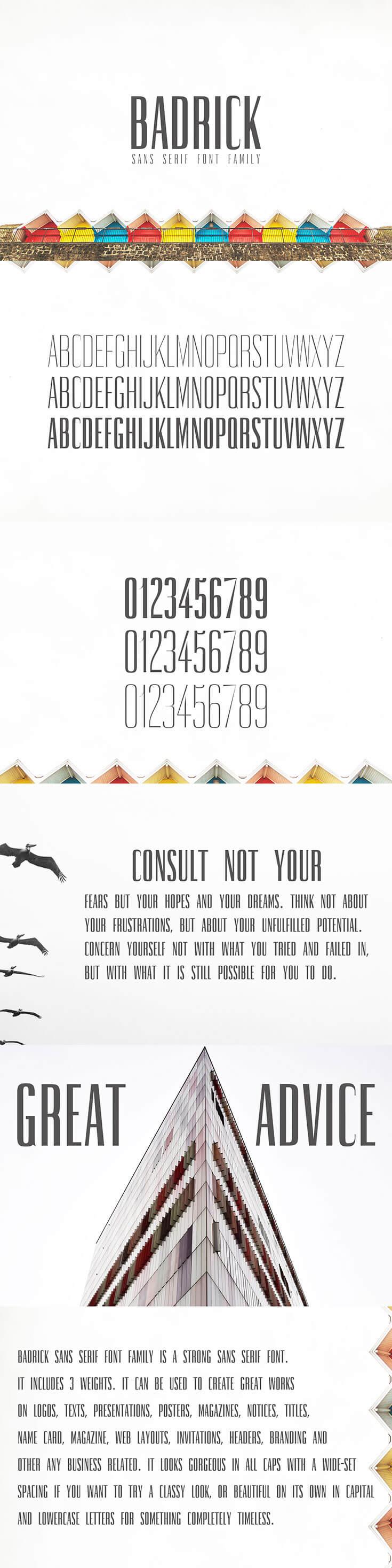 Badrick Sans Serif Font Family is a stylish condensed sans serif typeface.