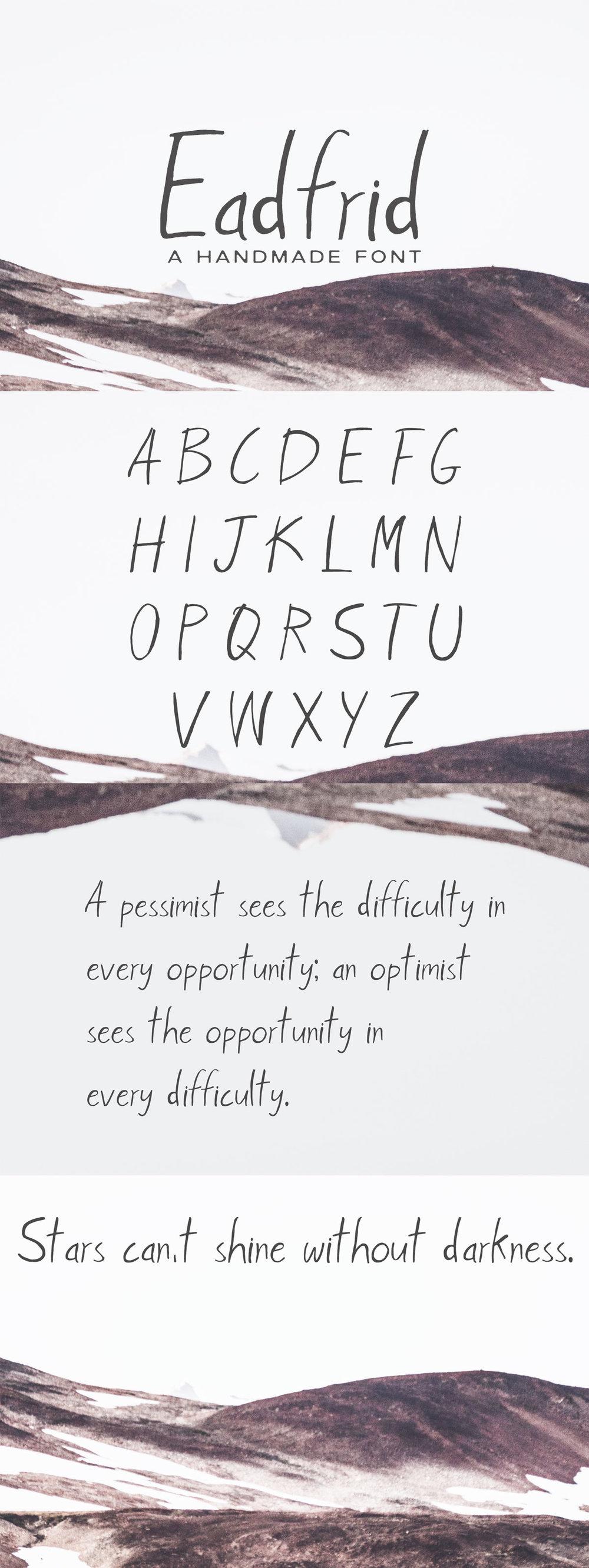 Free Eadrifd #Handmade #Font is a #modern straight handwritten brush font.