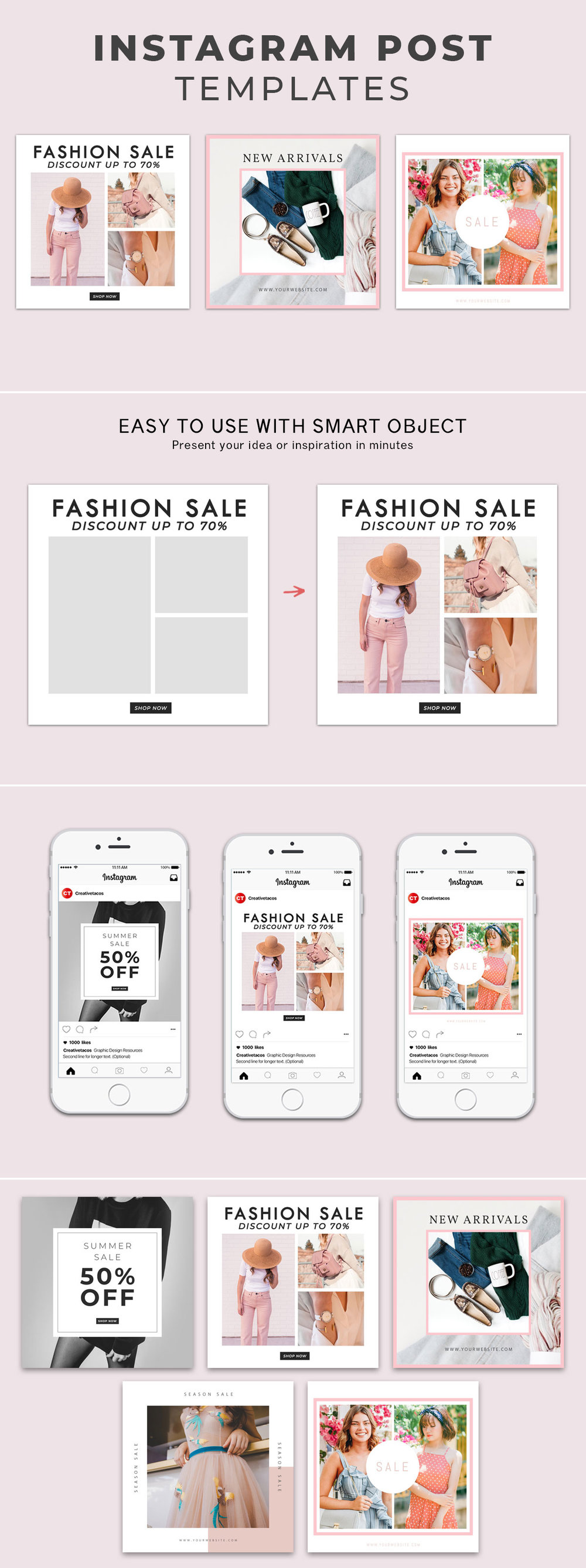 5 Free Fashion #Instagram #Social Media #Post #Templates Vol.1