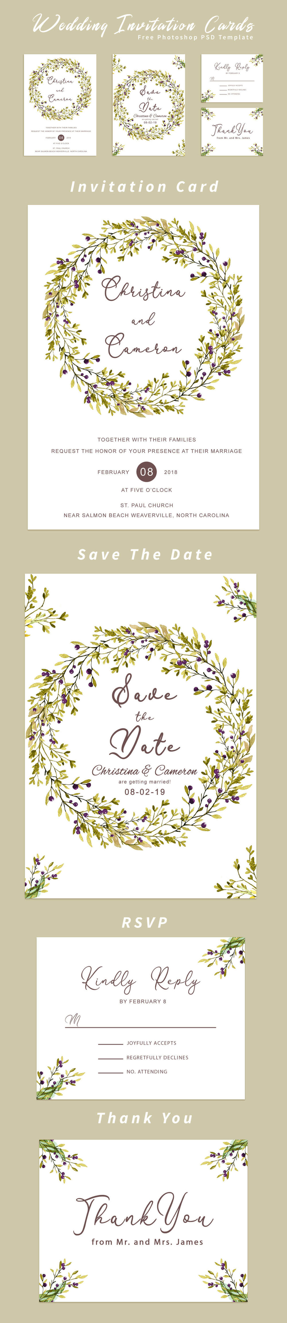 Free #Wedding #Invitation Card #Template is an eye-catching collection of invitation for your wedding celebration.