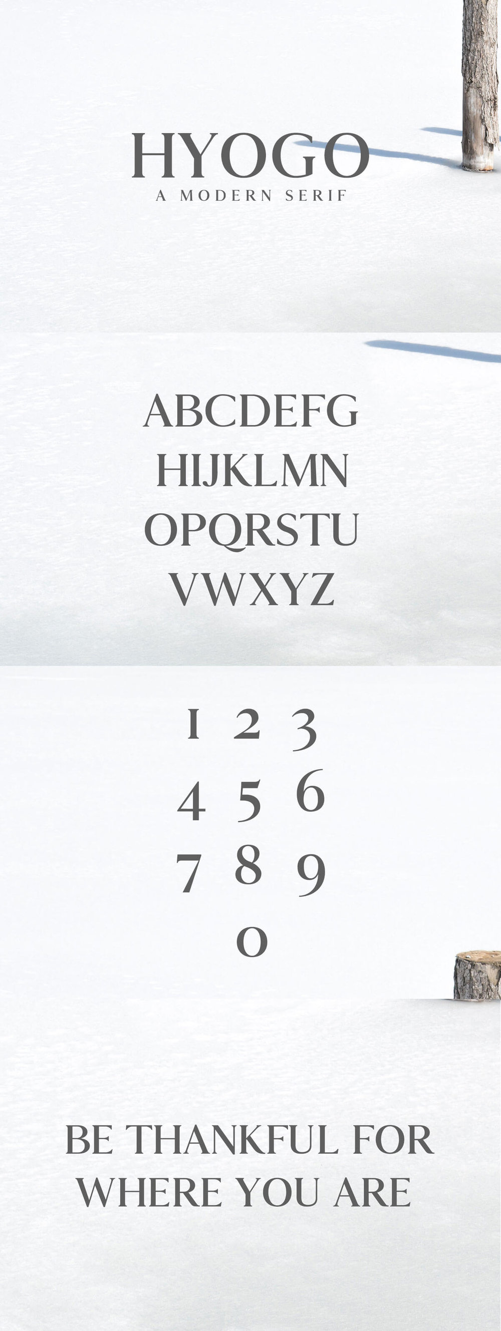 Free Hyogo #Modern #Serif #Font is a clean serif font for mixing some romance and charm to your designs. It contains uppercase and numbers only.