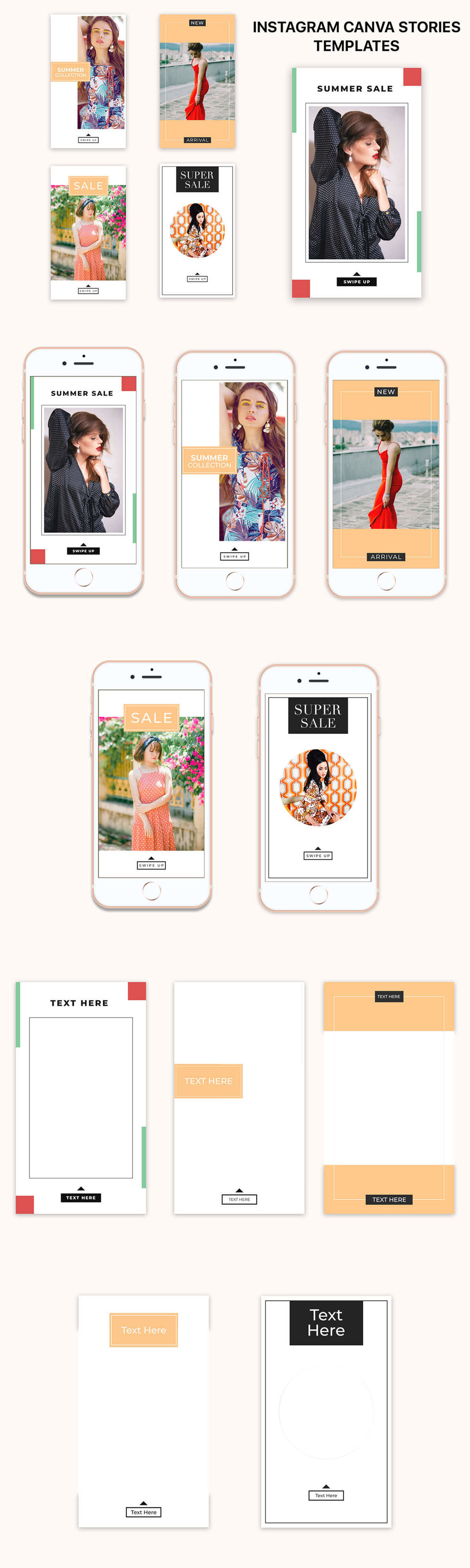 Free #Instagram #Canva Stories #Templates  Collection includes 5 eye-catching stories templates. It's available in  PNG format.