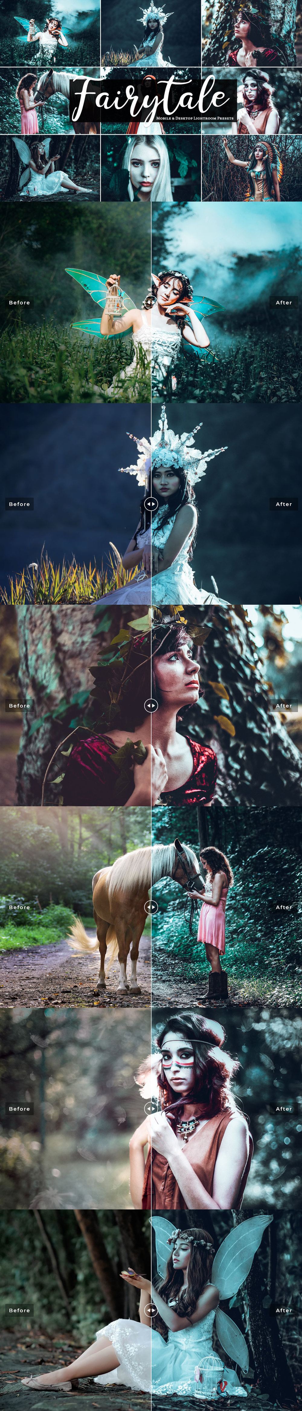 Fairytale Mobile and Desktop Free Lightroom Preset will create dark fairy tale look effect in your portraits in perfect finishing touch with just in one click. Every preset is fully editable, so you can perfect your photo artwork just as you envision it.