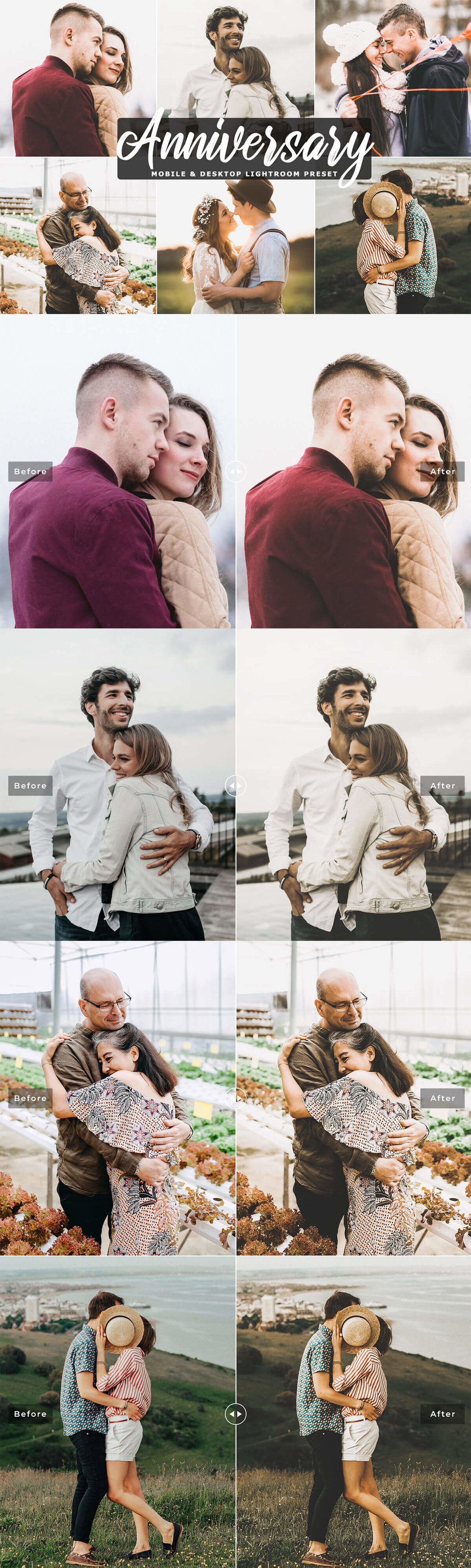 #Anniversary Mobile & Desktop Free #Lightroom #Preset comes in a single professional preset that will help you will create beautiful color tones and moody atmosphere in your photographs.