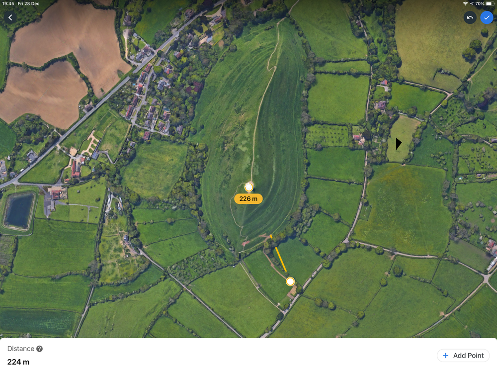 Using Google Earth to measure from takeoff point to Tor