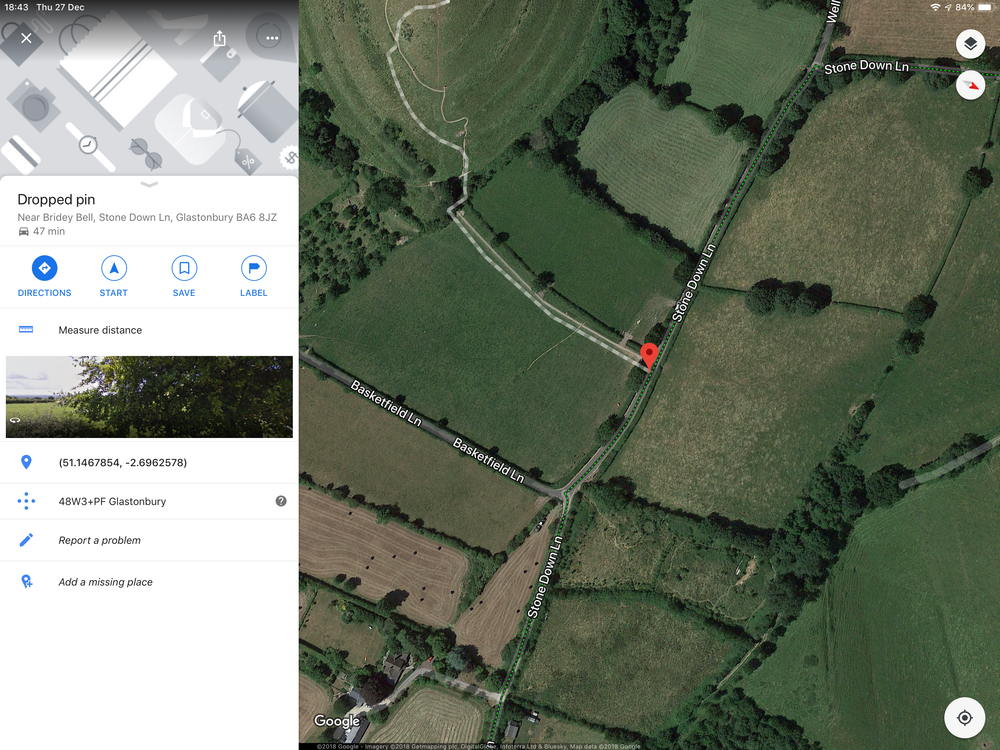 Google Maps Search for access to Glastonbury Tor.