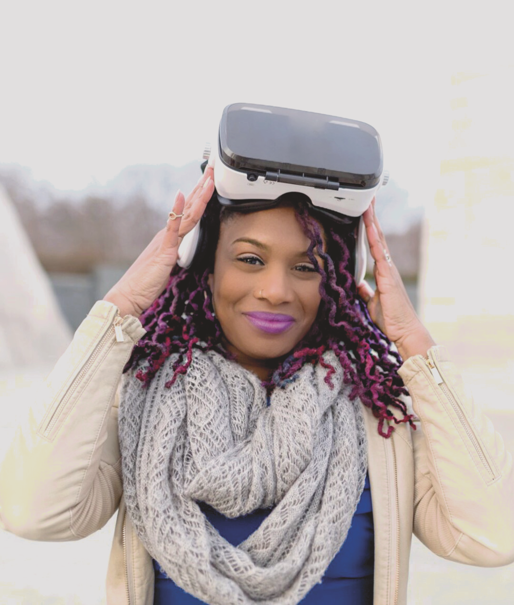 Kai Frazier is wearing a VR set which can take students across America on field trips they would never get to go on otherwise •