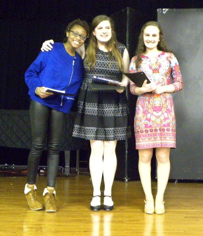 2017 Poetry Out Loud Regional winners (From left to right) 1st place, Natasha Mukuka of Wootton High School, 2nd place, Katherine Cognard-Black of Leonardtown High School and 3rd place Sydney Grossman of Centennial High School