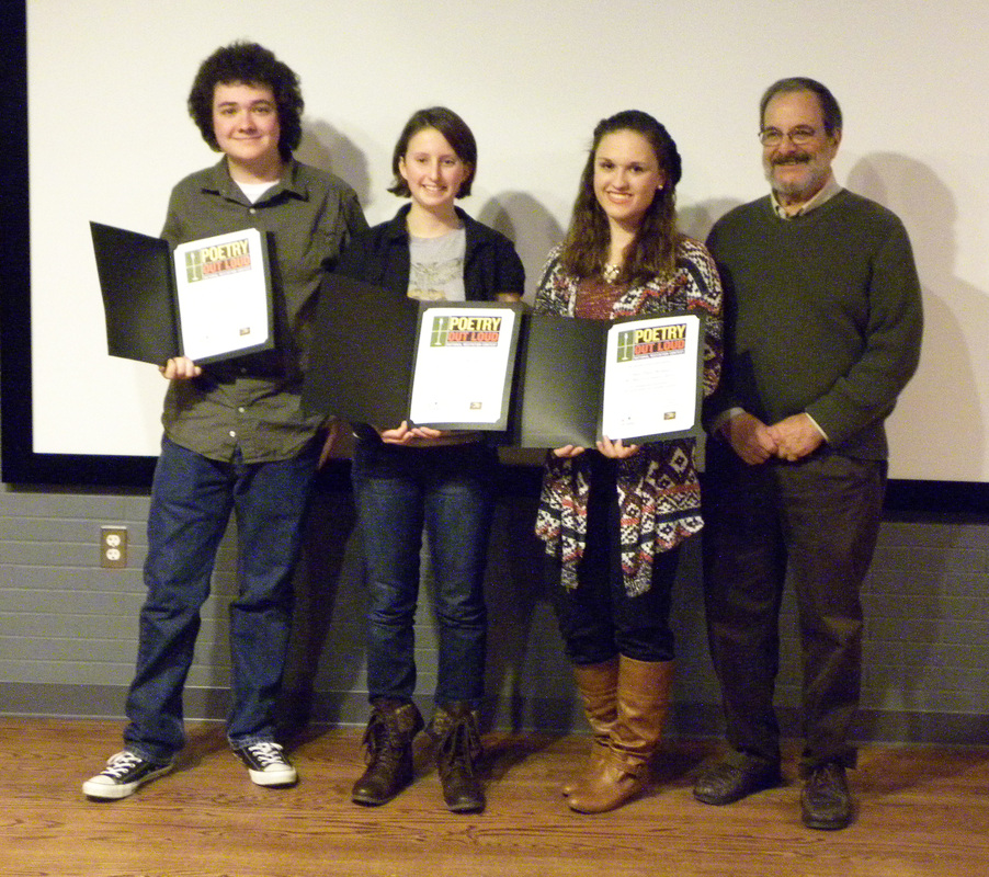 2015 Poetry Out Loud winners (From left to right) Brian Bizier, St. Mary's Ryken H.S., 2nd place; Sage Burch, Leonardtown H.S., 1st Place; Sarah Havrilla, King's Christian Academy, 3rd place and Michael Glaser, event MC.
