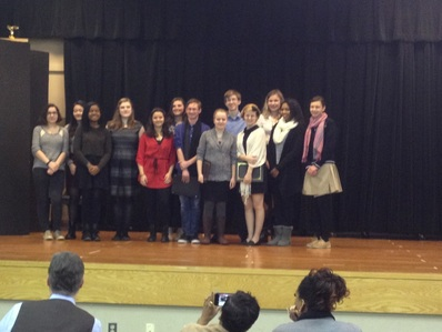 2014 St. Mary's County Poetry Out Loud Winners - Connor Joy, King's Christian Academy, 12th Grade – First Place; Sage Burch, Leonardtown H.S, 11th Grade - Second Place; and Renae Thomas, St. Mary's Ryken H.S., 12th Grade - Third Place. Pictured on the far left, Susan McNeill, organizer of Poetry Out Loud
