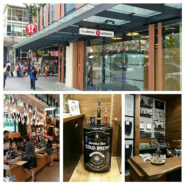 Get your athletic gear customed tailored and enjoy our cold brew coffee on tap while you wait at Lululemon's flagship store corner of Burrard and Robson St. #lululemon #coldbrewcoffee #vancouver #smoothcoffee #athlete #yoga #pickmeup #jamaica