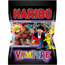 Haribo Vampire - Just in time for Halloween, from the authority on all things gummy, Haribo gives us these adorable goth candies. Whether it's rainbow bats or peach rings, Haribo understands how to make cute gummys that you can't get enough of.