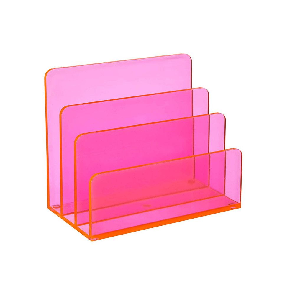 OSCO Neon Pink Acrylic Letter Holder - Neon acrylic is impossibly chic and is the closest to desk candy as you can get.