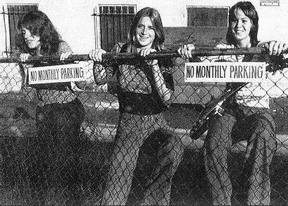 Micki Steele, Sandy West, and Joan Jett in the original lineup of the Runaways