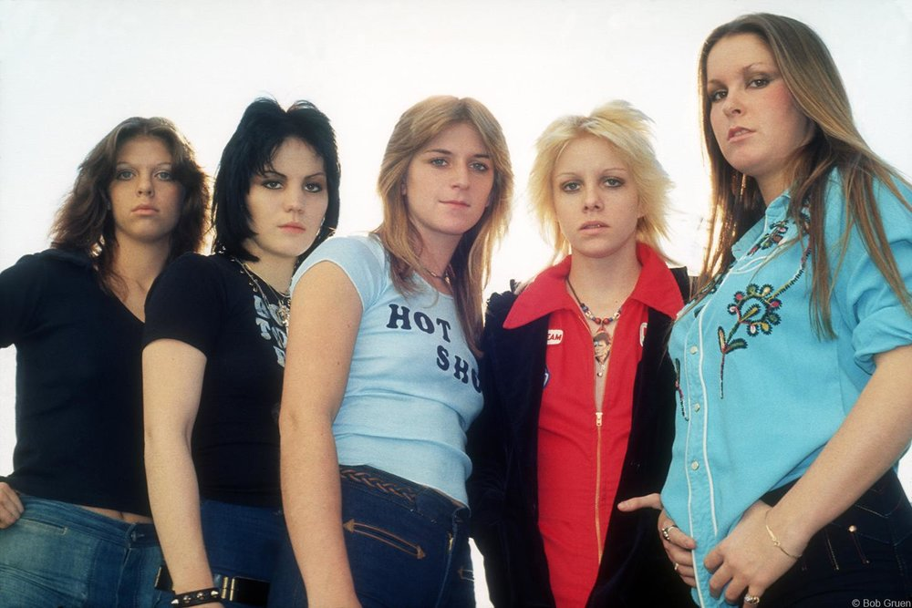 The best-remembered lineup of the Runaways: (left to right) Jackie Fox, Joan Jett, Sandy West, Cherie Currie, Lita Ford