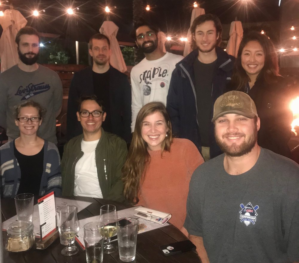 Group dinner at Eureka to celebrate Alex's arrival at UCI.