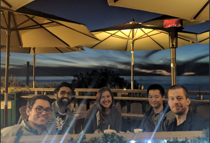 First Patterson Lab holiday party - dinner at shake shack after hiking in Crystal Cove